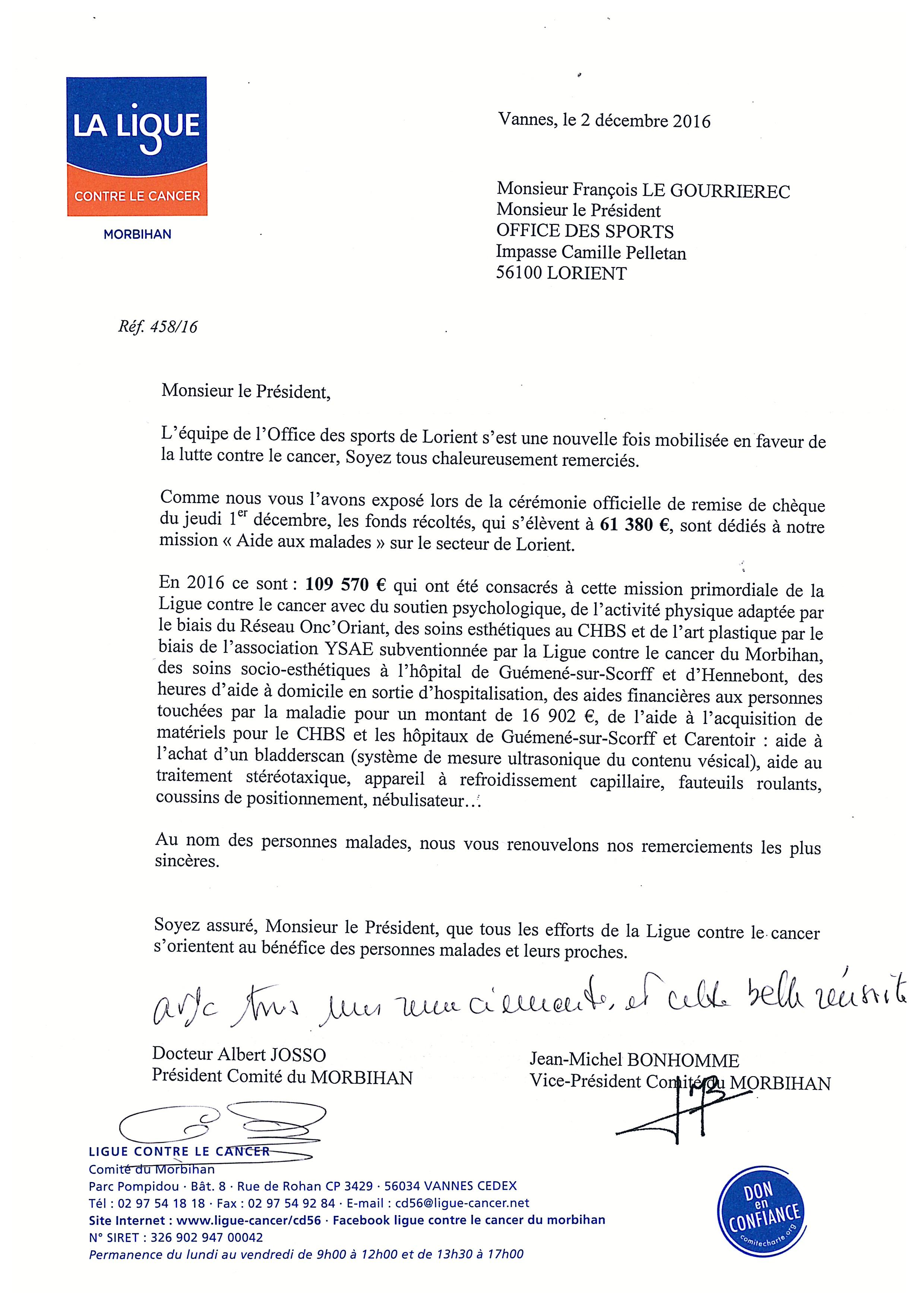 Lettre Remerciements Ligue Contre le Cancer Morbihan   La Lorientaise
